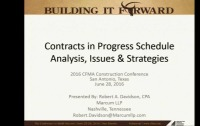 Advanced Session - Contracts in Progress Schedule: Analysis, Issues & Strategies