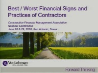 Best/Worst Financial Signs & Practices for Contractors